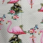 Preview: Jerseystoff in grau mit Flamingos